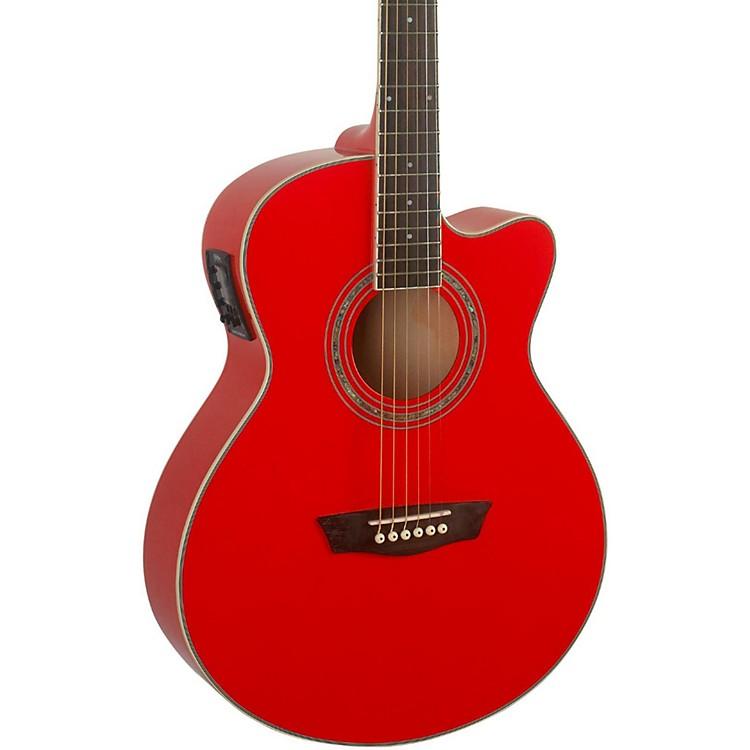 WashburnFestival EA12B Acoustic Cutaway Electric Mini Jumbo Guitar With 4-Band EQRed