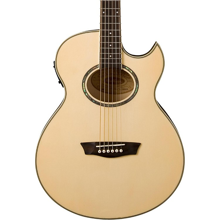 Washburn Festival EA20 Spruce Top Acoustic Cutaway Electric Mini Jumbo Flame Maple Guitar with 4-Band EQ Natural
