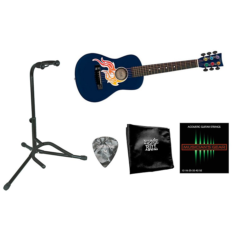 First Act Flame Bling Acoustic Guitar Bundle with Accessory Pack Blue