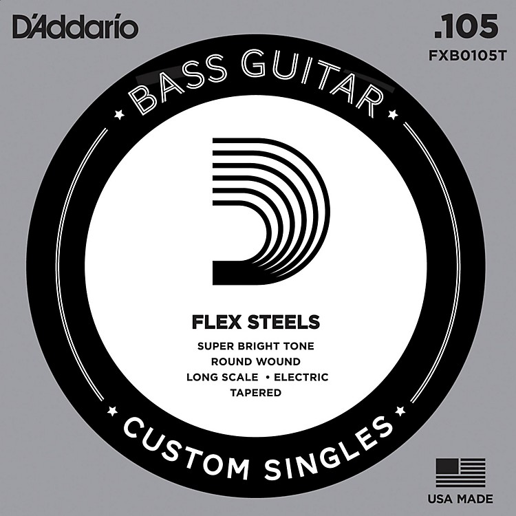 D'Addario FlexSteel Long Scale Tapered Single Bass Guitar String (.105)