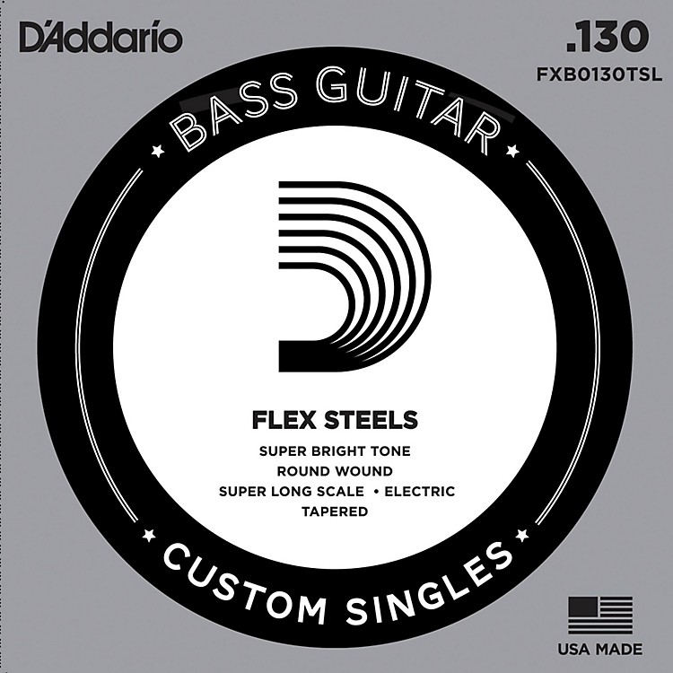 D'Addario FlexSteel Super Long Scale Tapered Single Bass Guitar String (.130)