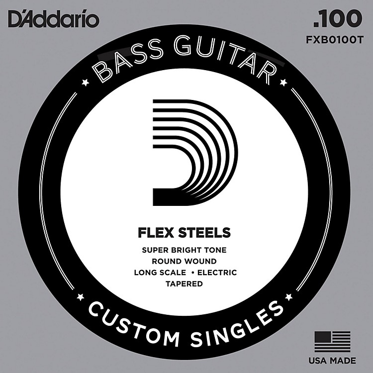 D'Addario FlexSteel long Scale Tapered Single Bass Guitar String (.100)