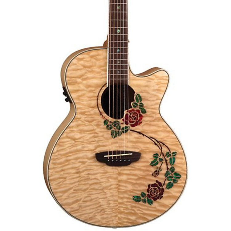 Luna Guitars Flora Rose Folk Acoustic-Electric Guitar Quilted Maple with Clear Finish