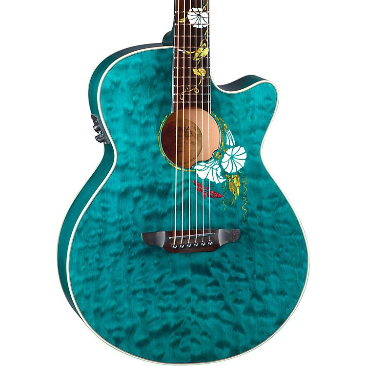 Luna Guitars Flora Series Custom Folk Acoustic-Electric Guitar Natural MoonFlower
