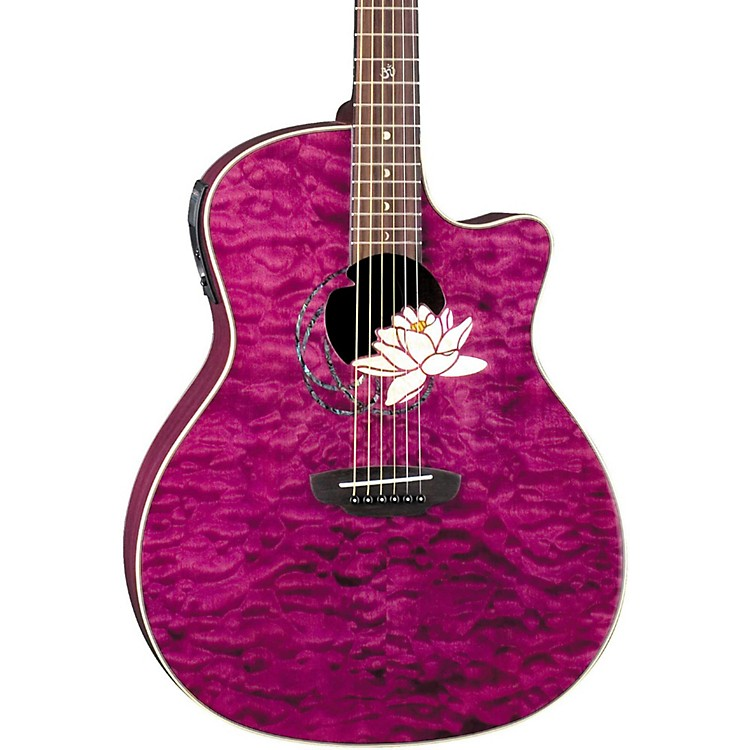Luna Guitars Flora Series Lotus Grand Auditorium Cutaway Acoustic-Electric Guitar Transparent Shiraz