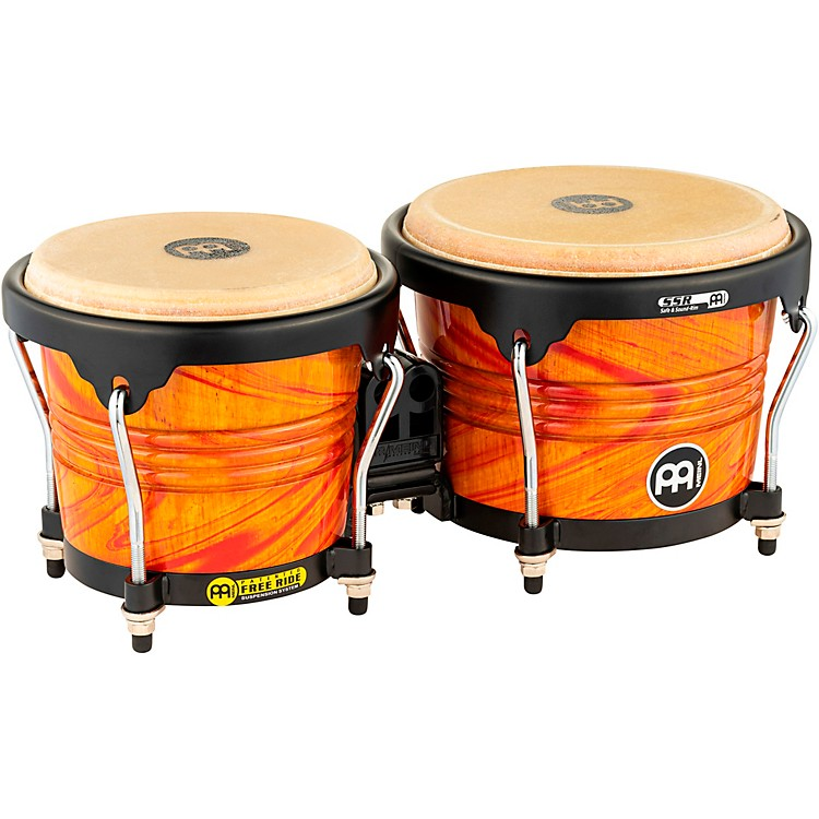 Meinl Free Ride Designer Series Wood Bongo Set Amber Flame 6-3/4 in. and 8 in.