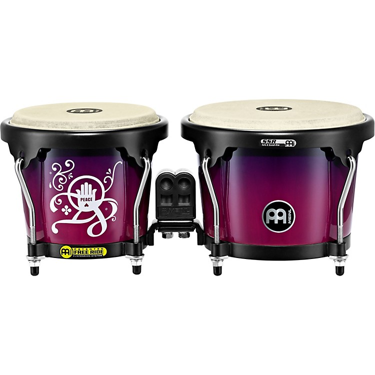 Meinl Free Ride Designer Series Wood Bongo Set Love, Peace and Unity 6-3/4 in. and 8 in.