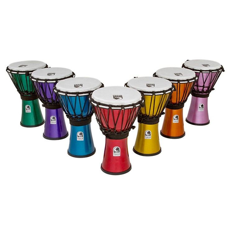 Toca Freestyle ColorSound Djembe Set of 7 Red, Orange, Yellow, Green, Blue, Indigo, & Violet 7 Inch