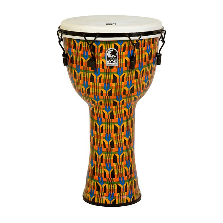 Toca Freestyle Djembe - Kente Cloth Mechanically Tuned 14 Inch