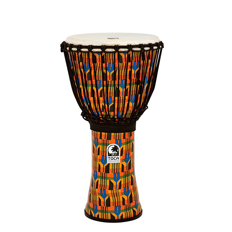 Toca Freestyle Kente Cloth Rope Tuned Djembe 12 in.