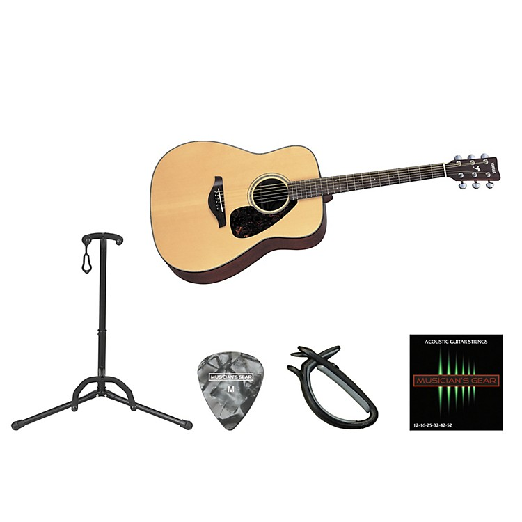 Yamaha Full Scale Beginner Steel String Dreadnought Acoustic Guitar Bundle Natural