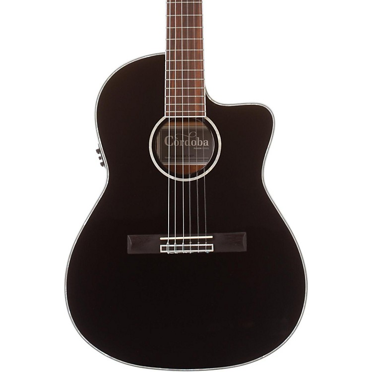 Cordoba Fusion 14 Jet Acoustic Electric Nylon String Classical Guitar Black