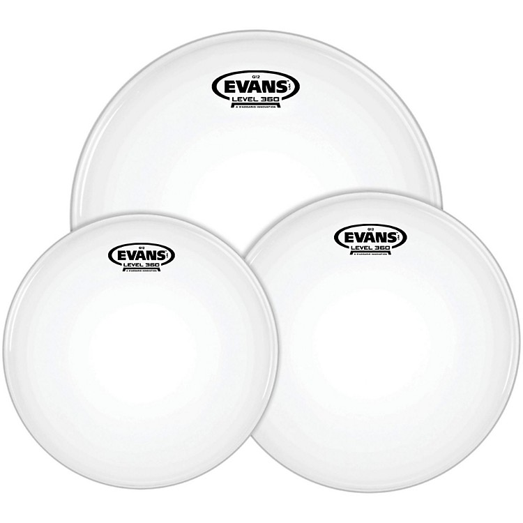 EvansG12 Coated White 10/12/14 Fusion Drumhead Pack