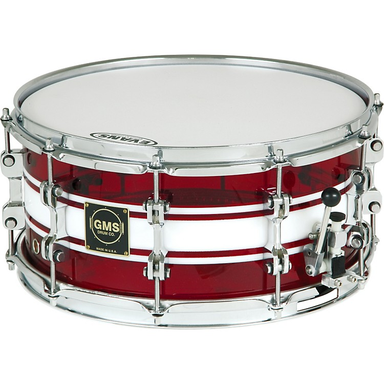 GMS G28 Acrylic Snare Drum 14 x 6.5 in. Ruby Red With White