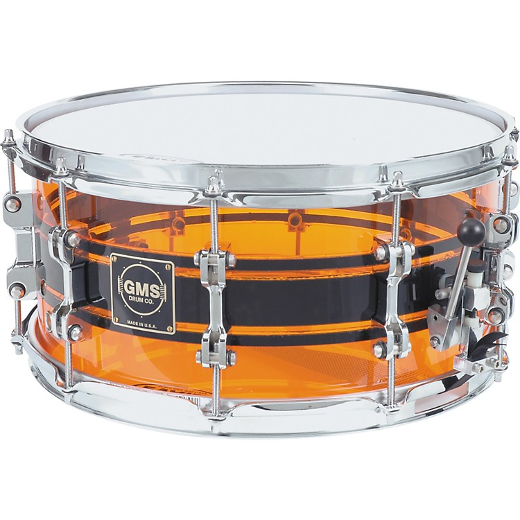 GMS G28 Acrylic Snare Drum 6.5 x 14 Amber With Black