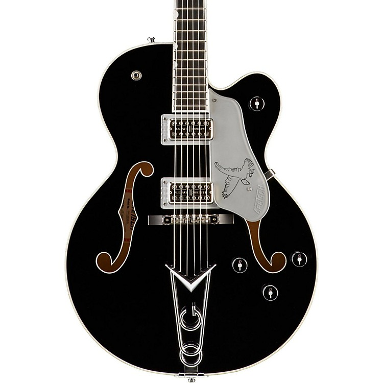 Gretsch GuitarsG6139-CBSL Silver Falcon Center BlockBlack with Silver Sparkle Binding