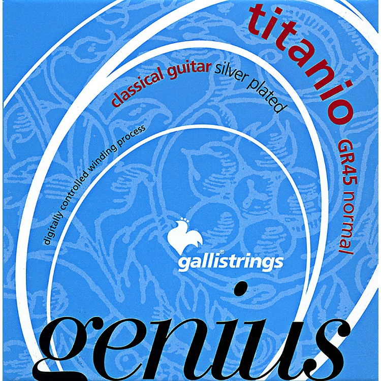 Galli Strings GR45 Genius Titanio  Nylon Coated Silverplated Normal Tension Classical Acoustic Guitar Strings