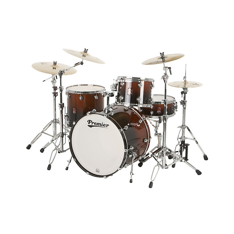 Premier Genista Birch Concert Master Ace 24 4-Piece Shell Pack Dark Walnut Fade Lacquer
