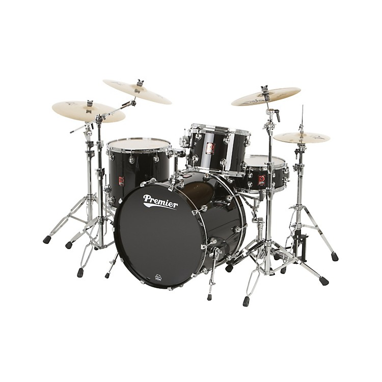 Premier Genista Maple Concert Master Ace 24 4-Piece Shell Pack Solid Black Lacquer