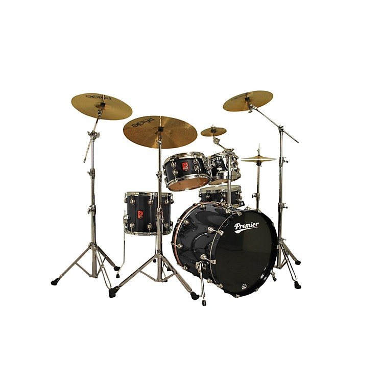 Premier Genista Maple Studio 22 5-Piece Shell Pack Solid Black Lacquer
