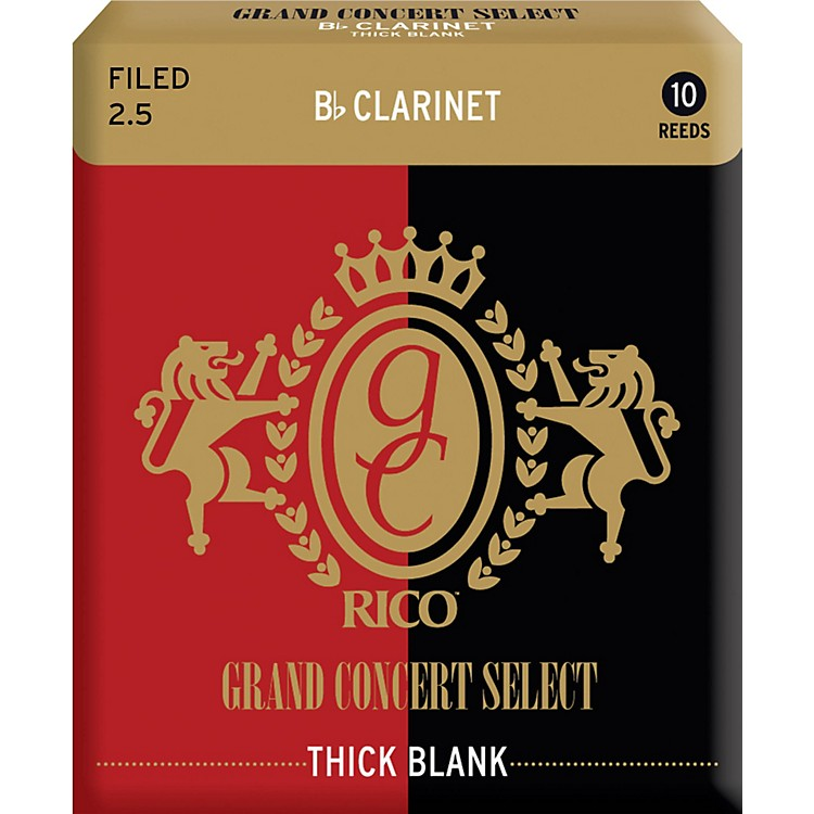 RicoGrand Concert Select Thick Blank Bb Clarinet ReedsStrength 2.5Box of 10