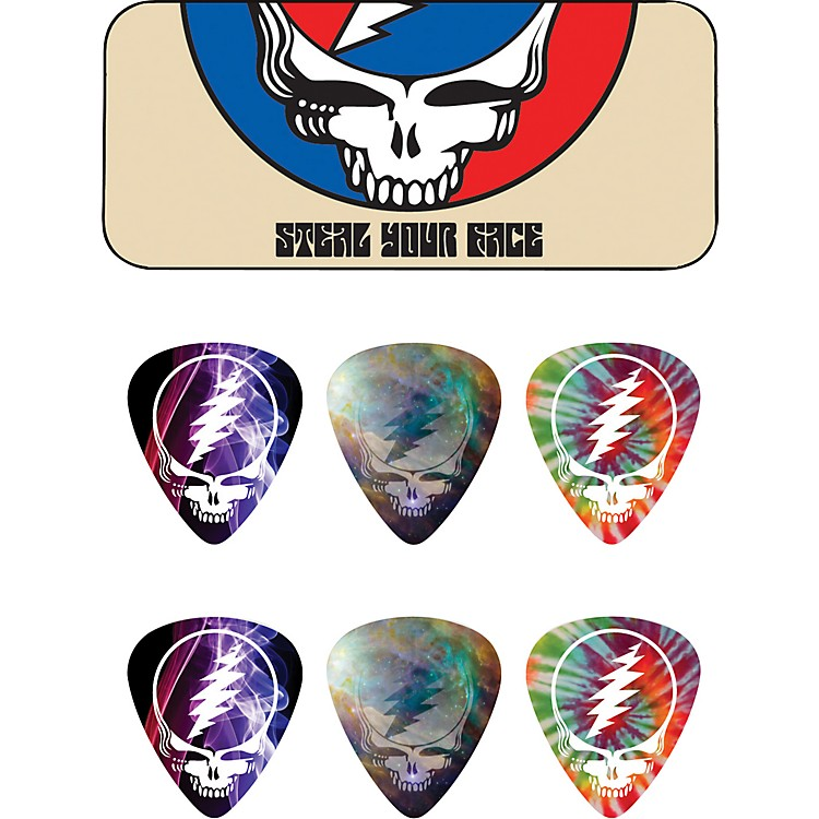 Dunlop Grateful Dead Steal Your Face Tan Pick Tin with 6 Picks
