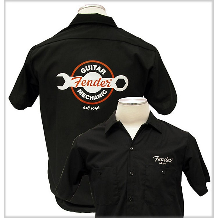 Fender Guitar Mechanic Work Shirt Black Small