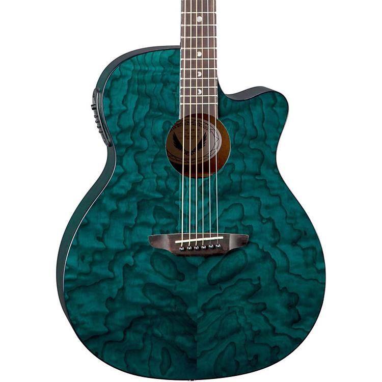 Luna GuitarsGypsy Grand Concert Ash Acoustic-Electric GuitarTransparent Teal