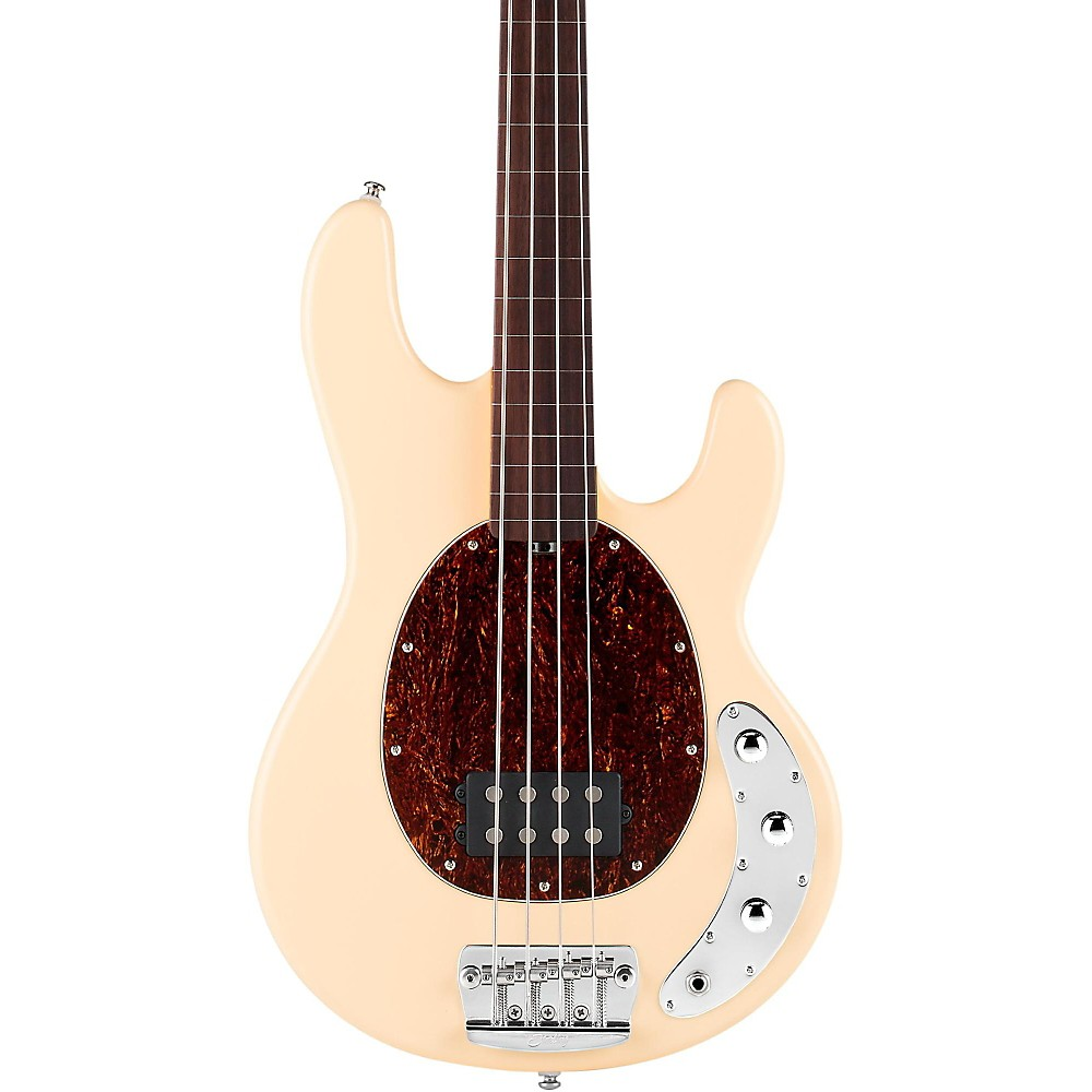 Sterling by Music Man RAY34 Classic Active Series Fretless Electric Bass Guitar Vintage Cream