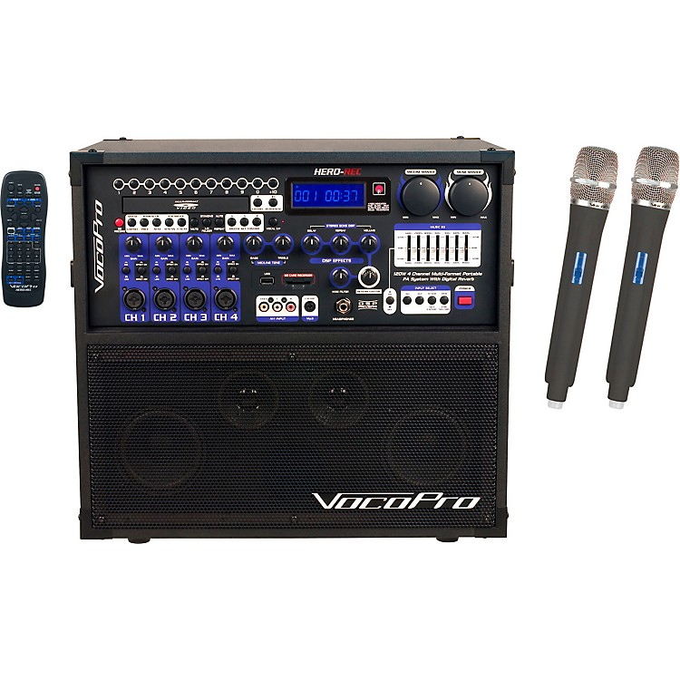 VocoPro HERO-REC UHF Multi-Format Portable PA Karaoke System with Digital Recorder & UHF Wireless System Set S+T