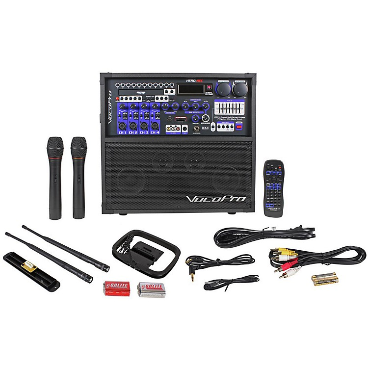 VocoPro HERO-REC VHF Multi-Format Portable P.A. Karaoke System w/ Digital Recorder & VHF Wireless System Set 4