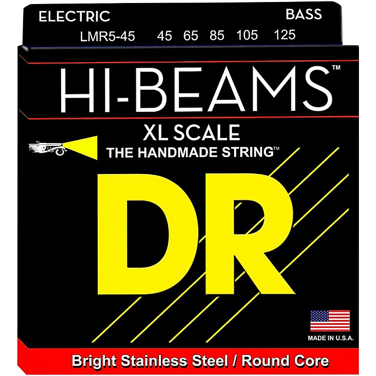 DR StringsHI-BEAM Stainless Steel 5-String Bass Strings X-Long Scale (45-65-85-105-125)