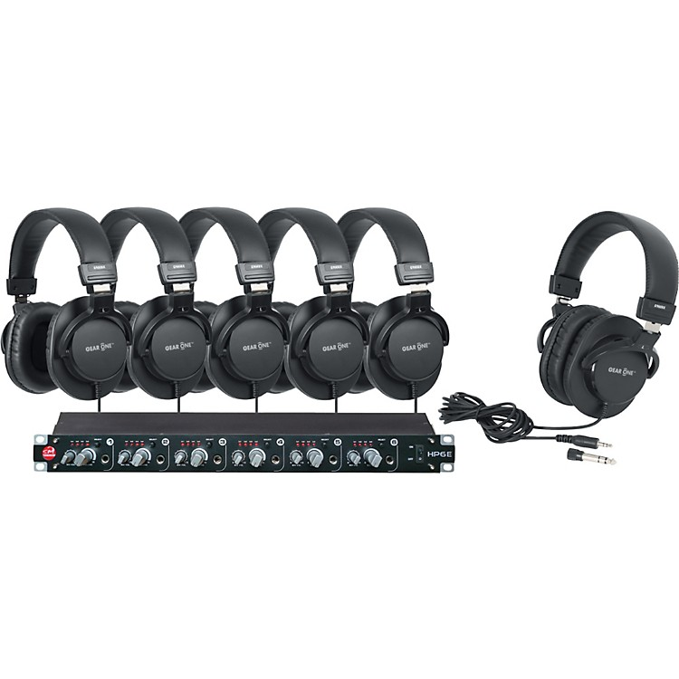 SM Pro AudioHP6E 6-Channel Headphone Amp with 6 Headphones