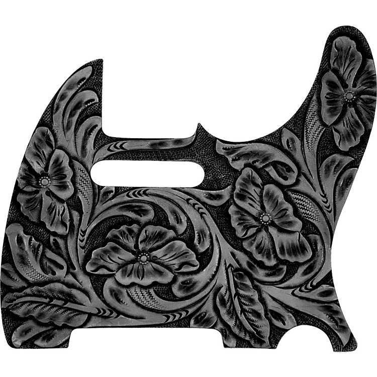 El Dorado Hand-Tooled Leather Tele Pickguard Black