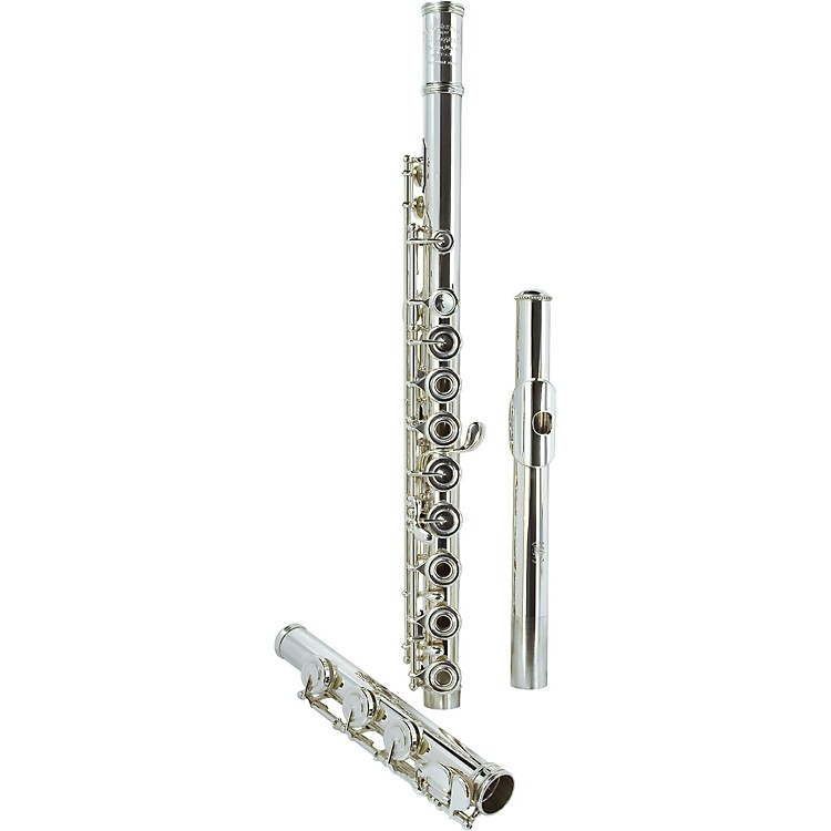 Haynes Handmade Drawn Tone Hole Model Professional Flute Offset G, 14K Gold Riser, .018 Wall, Solid Silver