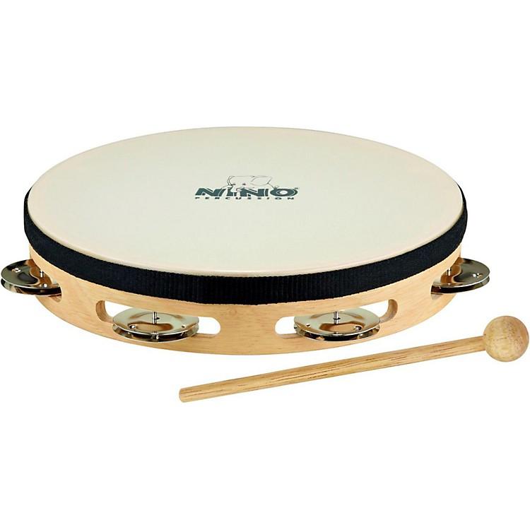 NinoHeaded Wood Tambourine w/Single Row of ChimesNatural8 Inch