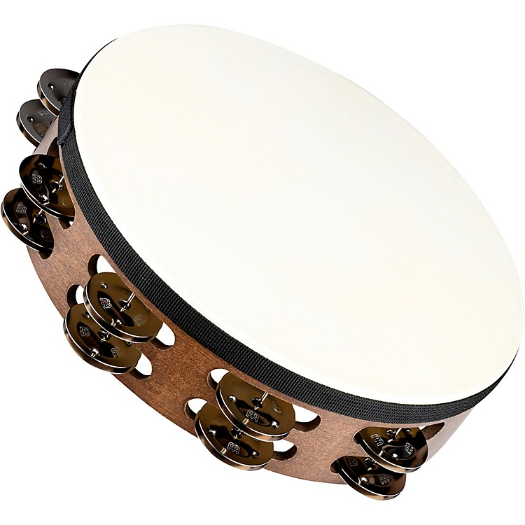 MeinlHeaded Wood Tambourine with Double Row Steel Jingles10 in.Walnut Brown
