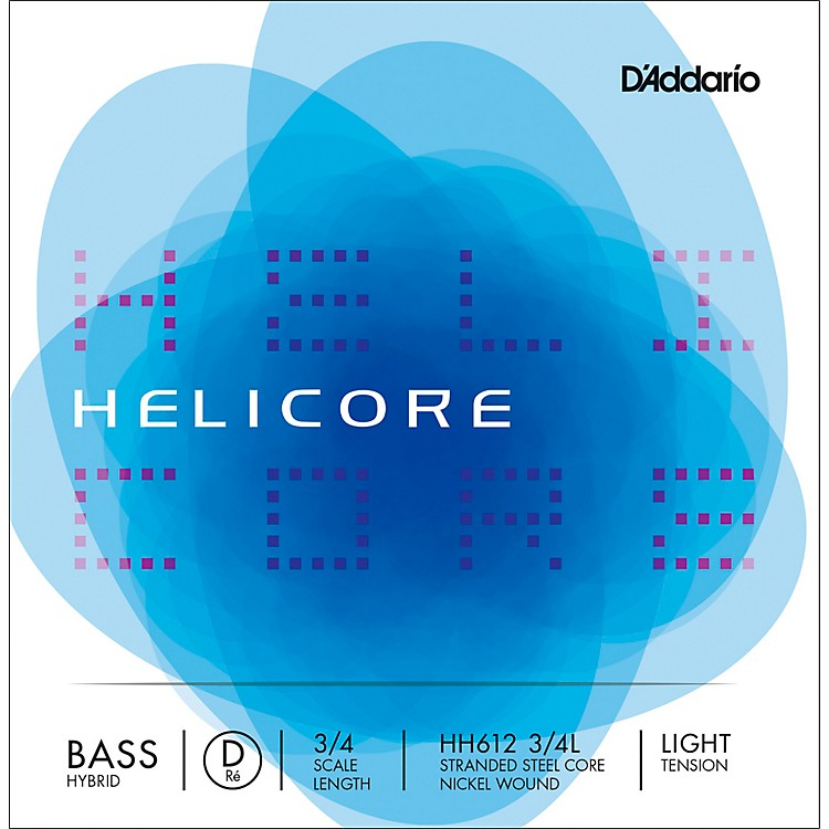 D'Addario Helicore Hybrid Series Double Bass D String 3/4 Size Light