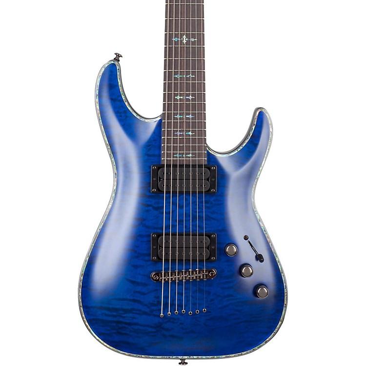 Schecter Guitar ResearchHellraiser C-7 Passive Solid Body Electric GuitarSatin Transparent Midnight Blue