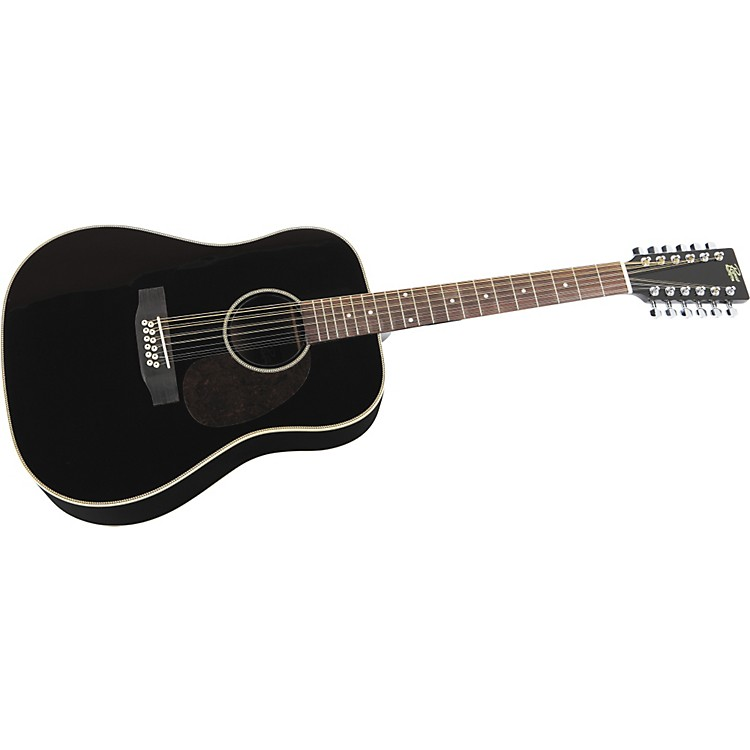 Rogue Herringbone 12-String Acoustic Guitar Black
