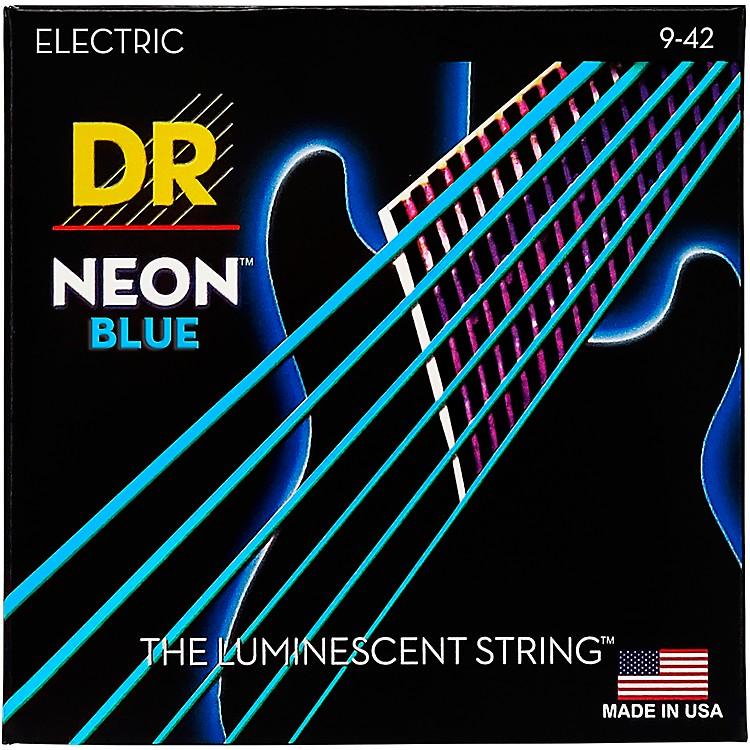 DR StringsHi-Def NEON Blue Coated Light (9-42) Electric Guitar Strings
