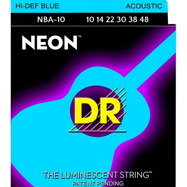 DR Strings Hi-Def NEON Blue Coated Lite Acoustic Guitar Strings (10-48)