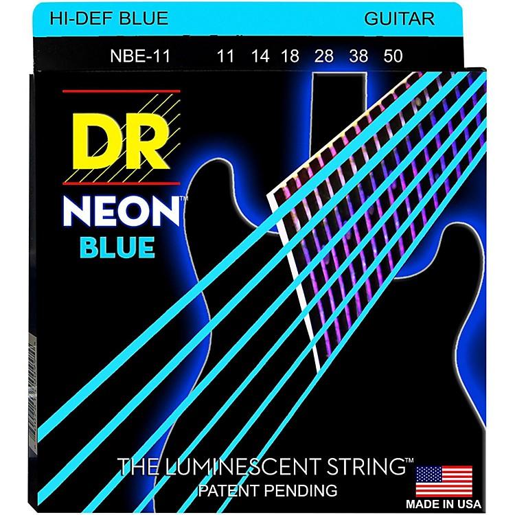DR StringsHi-Def NEON Blue Coated Medium (11-50) Electric Guitar Strings