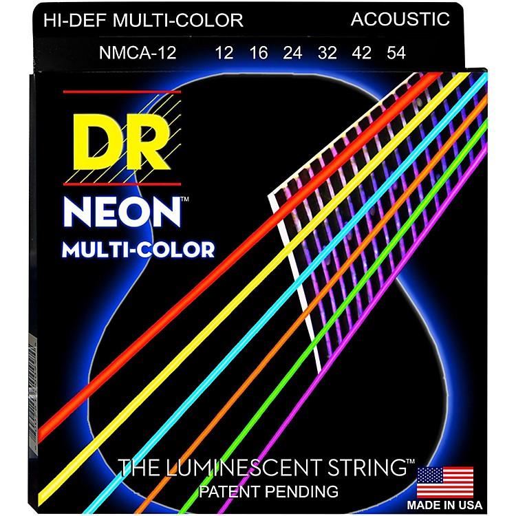 DR StringsHi-Def NEON Multi-Color Coated Medium Acoustic Guitar Strings