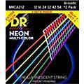 Hi-Def NEON Multi-Color Medium Acoustic Guitar Strings (12-54) 2 Pack