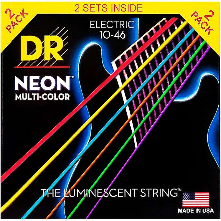 DR StringsHi-Def NEON Multi-Color Medium Electric Guitar Strings (10-46) 2 Pack