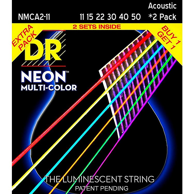 DR Strings Hi-Def NEON Multi-Color Medium Light Acoustic Guitar Strings (11-50) 2 Pack