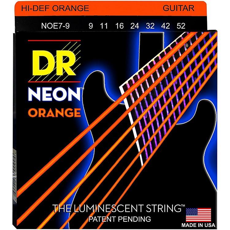 DR StringsHi-Def NEON Orange Coated Lite 7-String Electric Guitar Strings (9-52)