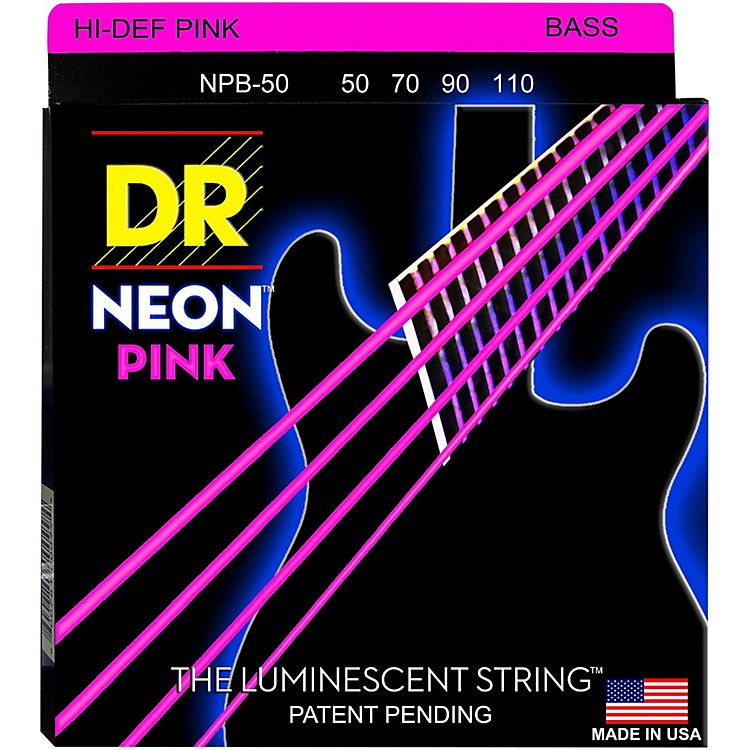 DR Strings Hi-Def NEON Pink Coated 4-String Bass Strings Heavy (50-110)