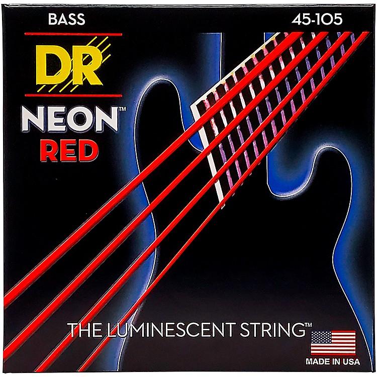 DR StringsHi-Def NEON Red Coated Medium 4-String (45-105) Bass Guitar Strings